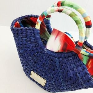 Ted Baker Bags - Ted Baker Blue Straw Satin Bow Basket Tote